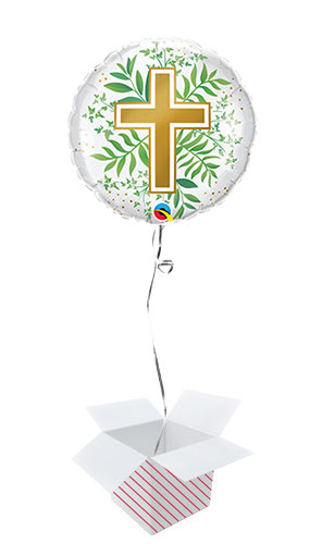 Golden Cross And Greenery Round Foil Helium Qualatex Balloon - Inflated Balloon in a Box Product Image