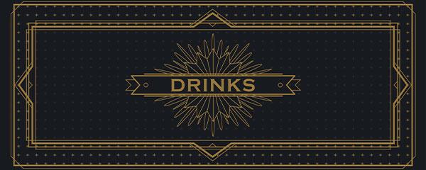 Golden Drinks PVC Party Sign Decoration 60cm x 25cm