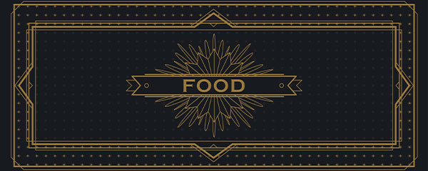 Golden Food PVC Party Sign Decoration 60cm x 25cm Product Image