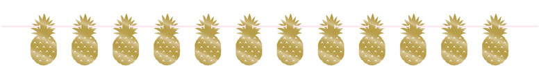 Golden Pineapple Foil Cardboard Banner With Twine 274cm Bundle Product Image