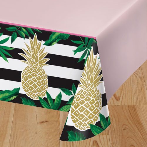 Golden Pineapple Plastic Tablecover 259cm x 137cm Bundle Product Image