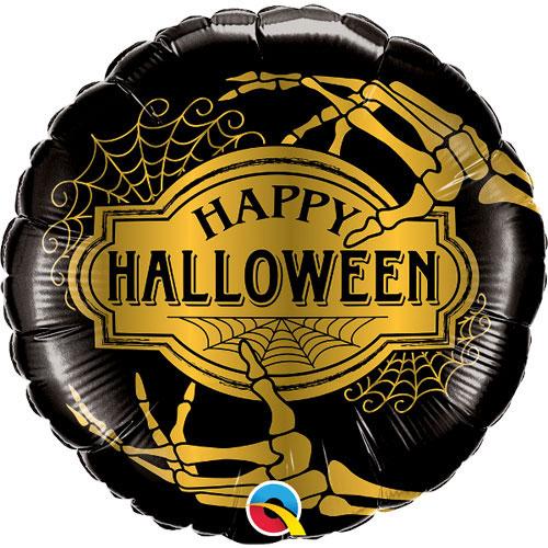 Golden Skeleton Halloween Round Foil Helium Qualatex Balloon 46cm / 18Inch Product Image