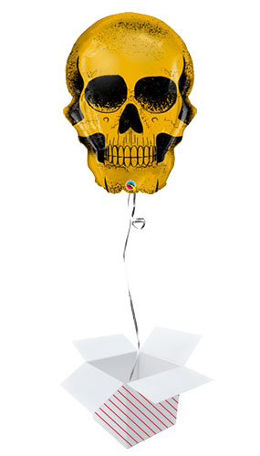 Golden Skull Halloween Helium Foil Giant Qualatex Balloon - Inflated Balloon in a Box Product Image