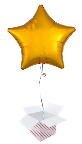 Golden Star Shape Foil Helium Balloon - Inflated Balloon in a Box