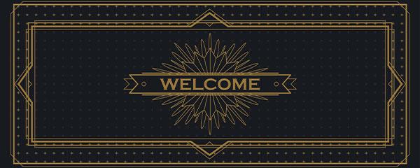 Golden Welcome PVC Party Sign Decoration 60cm x 25cm