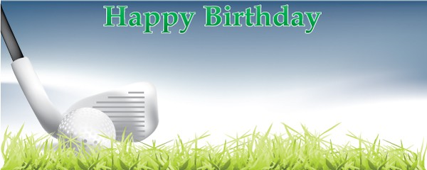 Happy Birthday Fairway Shot Design Small Personalised Banner - 4ft x 2ft