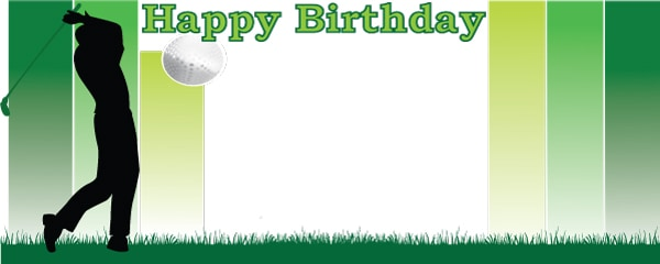 Happy Birthday The Golfer Design Small Personalised Banner - 4ft x 2ft
