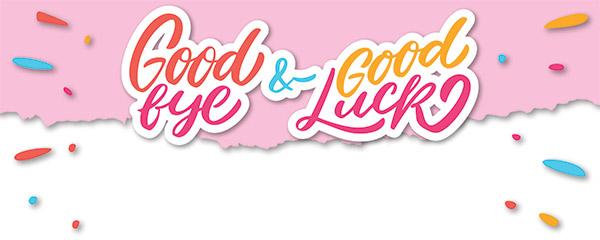 Good Bye Good Luck Design Medium Personalised Banner 6ft x 2.25ft