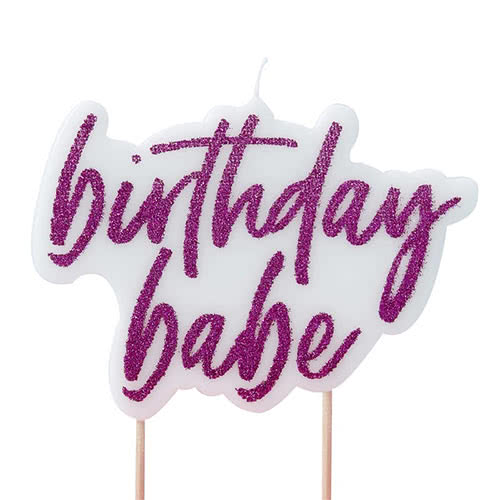 Good Vibes 'Birthday Babe' Glitter Hot Pink Party Candle 10cm Product Gallery Image