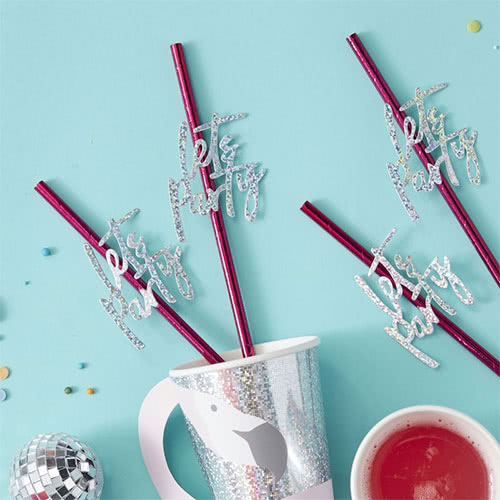 Good Vibes Holographic 'Lets Party' Hot Pink Party Paper Straws - Pack of 16