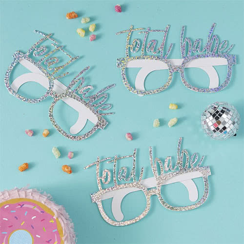 Good Vibes Holographic 'Total Babe' Cardboard Party Glasses - Pack of 8