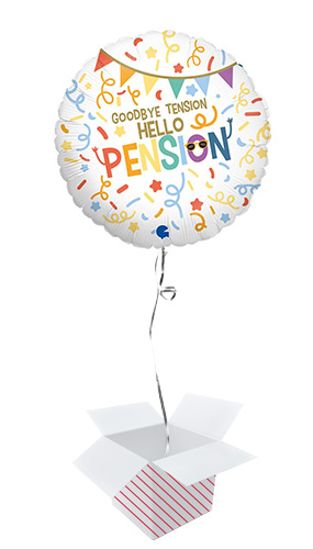 Goodbye Tension Hello Pension Retirement Round Foil Helium Balloon - Inflated Balloon in a Box