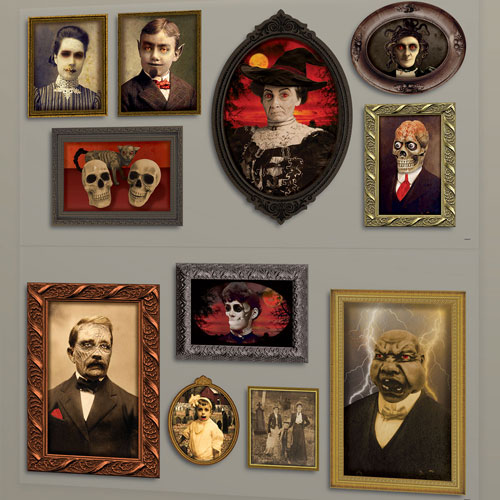 Gothic Portraits Halloween Backdrop Scene Setter Add-On Wall Decorations - Pack of 2