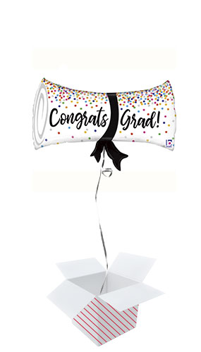 Graduation Confetti Diploma Holographic Helium Foil Giant Balloon - Inflated Balloon in a Box Product Image