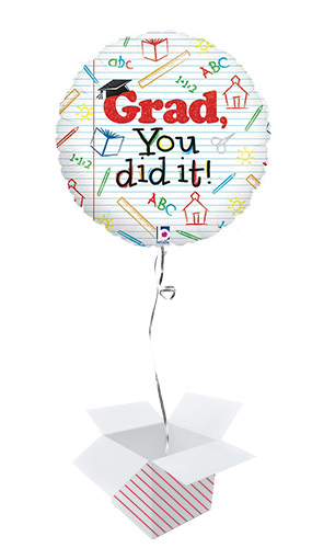 Grad You Did It Graduation Holographic Round Foil Helium Balloon - Inflated Balloon in a Box Product Image