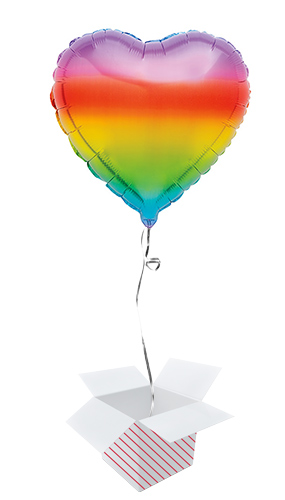 Gradient Rainbow Heart Foil Helium Balloon - Inflated Balloon in a Box Product Image