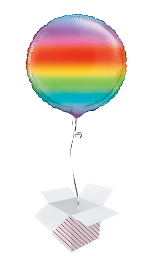 Gradient Rainbow Round Foil Helium Balloon - Inflated Balloon in a Box Product Image