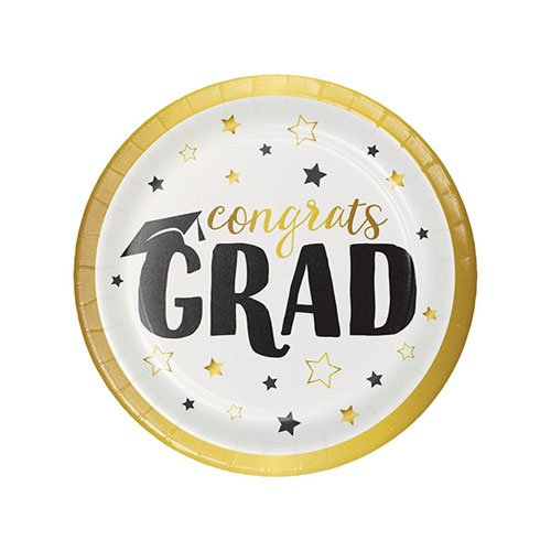 Graduation Adventure Foil Stamped Round Paper Plates 18cm - Pack of 8