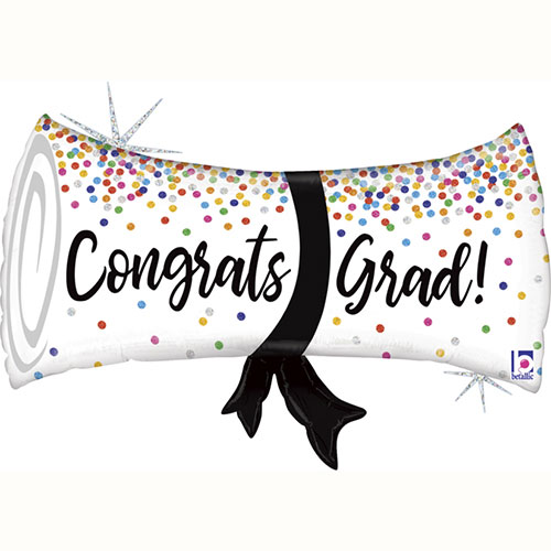Graduation Confetti Diploma Holographic Helium Foil Giant Balloon 79cm / 31 in Product Image
