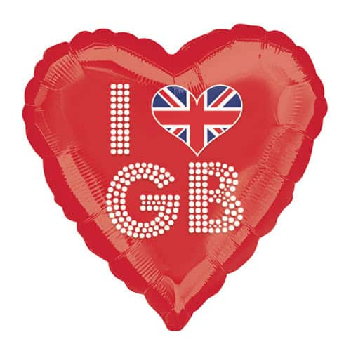 Great Britain Union Jack I Love GB Red Helium Foil Balloon 45cm / 18Inch