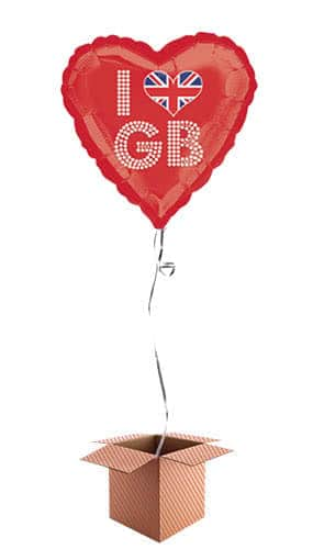 Great Britain Union Jack I Love GB Red Helium Foil Balloon - Inflated Balloon in a Box