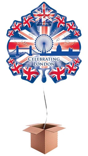 Great Britain Theme Starburst Skyline Helium Foil Giant Balloon - Inflated Balloon in a Box