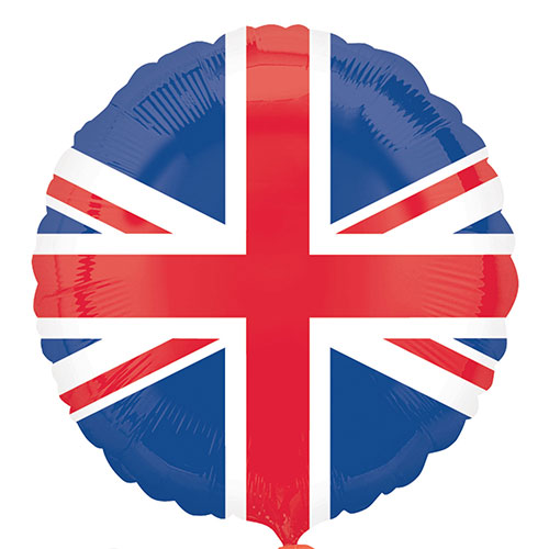 Great Britain Union Jack Flag Round Foil Helium Balloon 45cm / 18 in