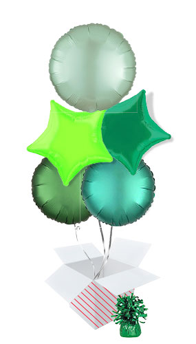 Green Assortment Foil Helium Balloon Bouquet - 5 Inflated Balloons In A Box Product Image