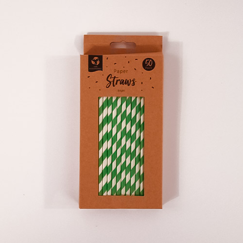 Green Biodegradable Paper Straws - Pack of 50 Product Gallery Image