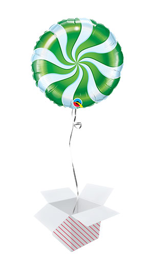 Green Candy Swirl Christmas Round Foil Helium Qualatex Balloon - Inflated Balloon in a Box Product Image