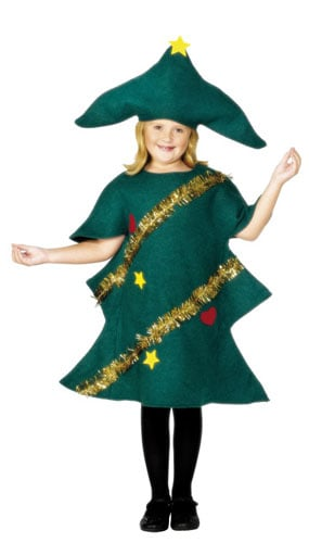 Green Christmas Tree With Tinsel Costume 7-9 Years Childrens Fancy Dress