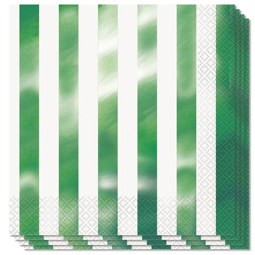Green Foil Stripes Luncheon Napkins 2Ply 33cm - Pack of 16
