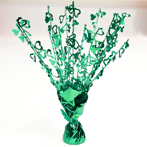 Green Hearts Foil Spray Balloon Weight Centrepiece 38cm Product Image