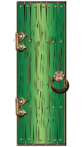 Green Magical Single Door Lifesize Cardboard Cutout 195cm