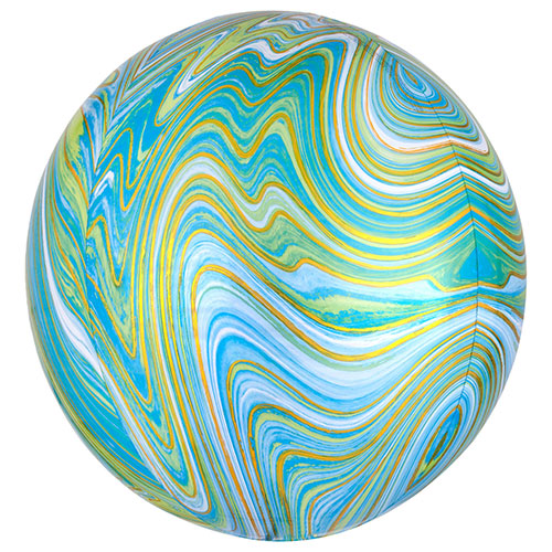 Green Marblez Orbz Foil Helium Balloon 38cm / 15 in Product Image