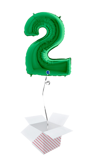 Green Number 2 Helium Foil Giant Balloon - Inflated Balloon in a Box Product Image