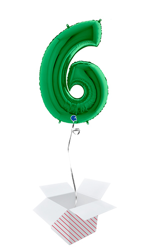 Green Number 6 Helium Foil Giant Balloon - Inflated Balloon in a Box Product Image