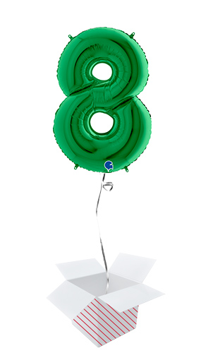 Green Number 8 Helium Foil Giant Balloon - Inflated Balloon in a Box Product Image