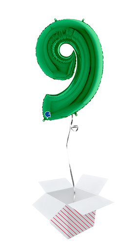 Green Number 9 Helium Foil Giant Balloon - Inflated Balloon in a Box Product Image