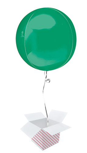 Green Orbz Foil Helium Balloon - Inflated Balloon in a Box Product Image