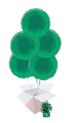 Green Round Foil Helium Balloon Bouquet - 5 Inflated Balloons In A Box Product Image