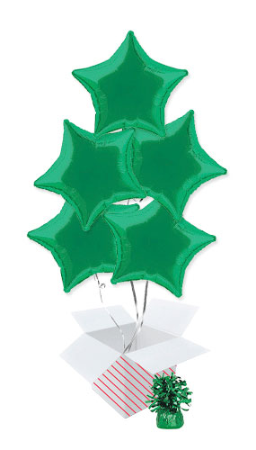 Green Star Foil Helium Balloon Bouquet - 5 Inflated Balloons In A Box Product Image