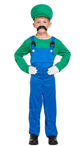 Green Super Workman Children Fancy Dress Costume 10-12 Years - Large Product Image
