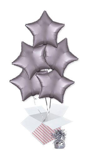 Greige Satin Luxe Star Shape Foil Helium Balloon Bouquet - 5 Inflated Balloons In A Box Product Image