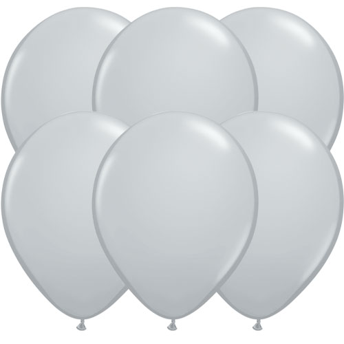 Grey Round Latex Qualatex Balloons 28cm / 11 in - Pack of 10