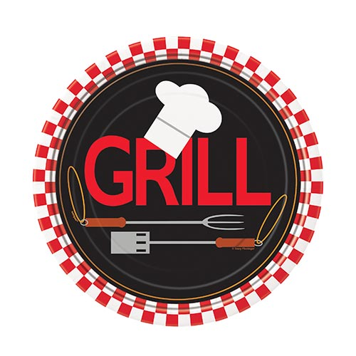 Grill BBQ Round Paper Plates 17cm - Pack of 8 Product Image