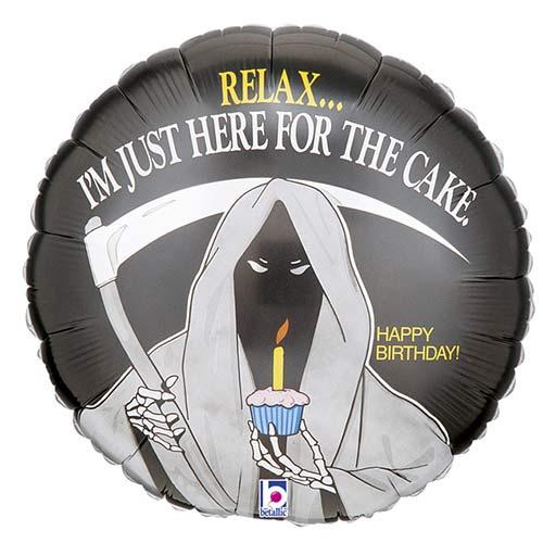 Grim Reaper Birthday Round Foil Helium Balloon 46cm / 18 in