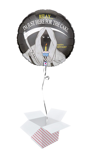 Grim Reaper Birthday Round Foil Helium Balloon - Inflated Balloon in a Box Product Image