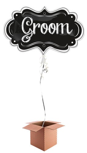 Groom Chalkboard Helium Foil Giant Balloon - Inflated Balloon in a Box Product Image