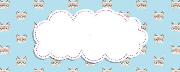 Grumpy Cat Blue Design Medium Personalised Banner - 6ft x 2.25ft